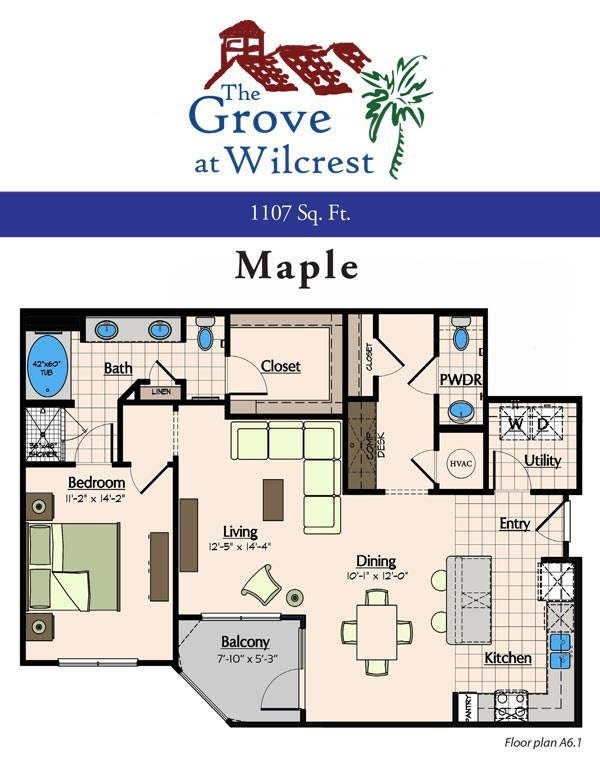 1,107 sq. ft. A6.1 floor plan