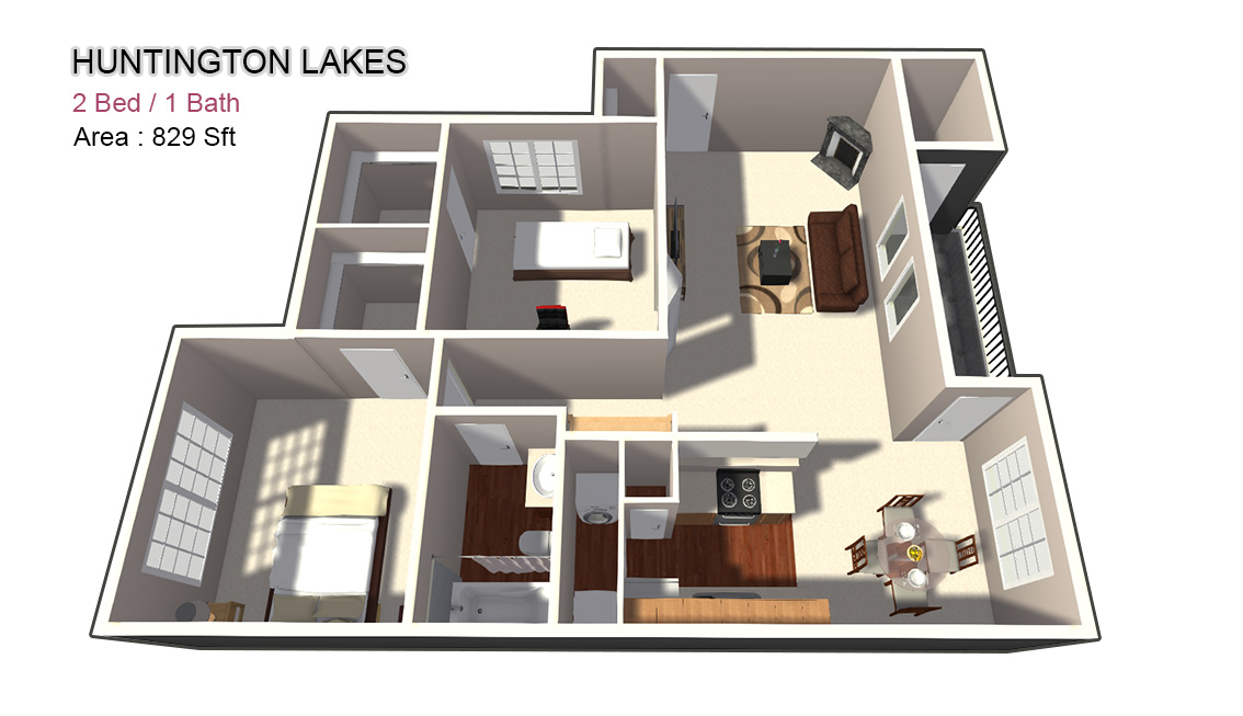 829 sq. ft. 1X1 floor plan