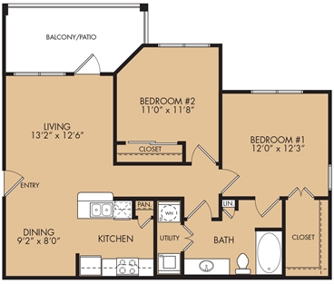 919 sq. ft. B1 floor plan