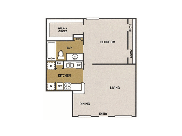 775 sq. ft. H floor plan