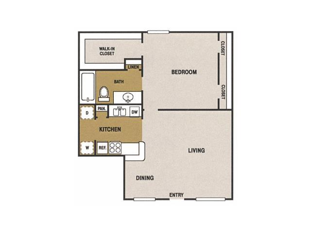 775 sq. ft. H floor plan