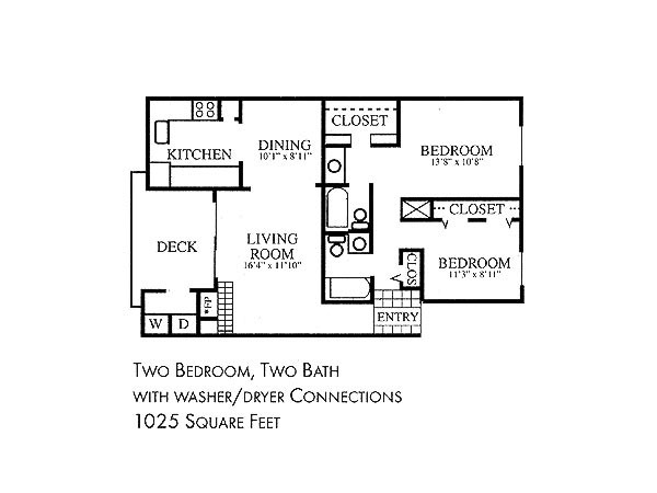 1,025 sq. ft. floor plan