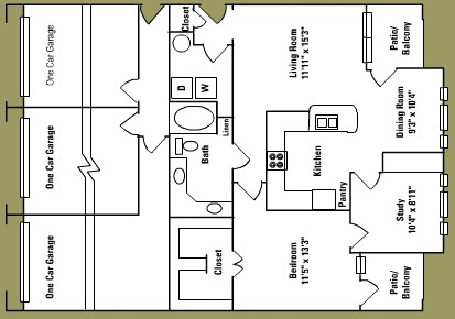 1,032 sq. ft. C2 floor plan