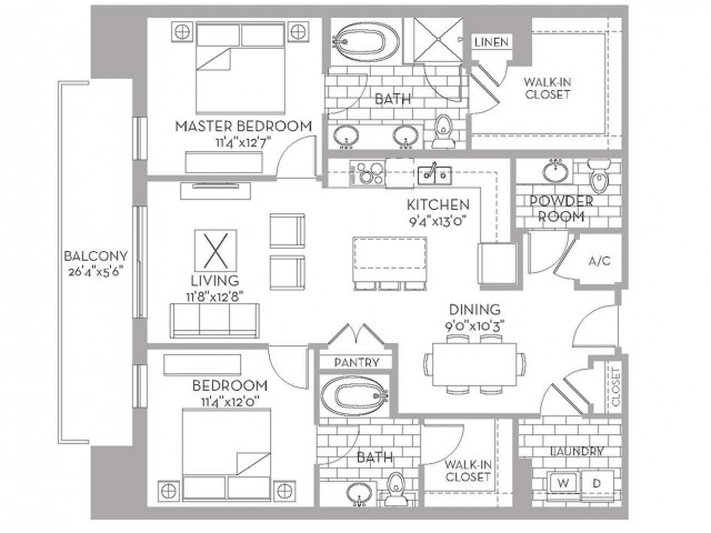 1,310 sq. ft. Royal(B.4) floor plan