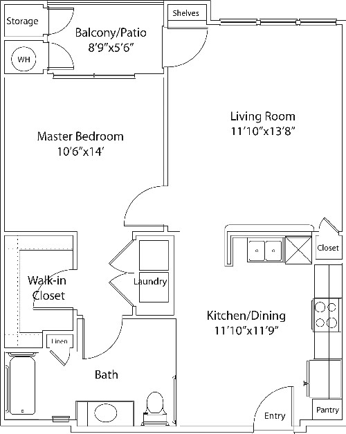 762 sq. ft. DARRO 60 floor plan