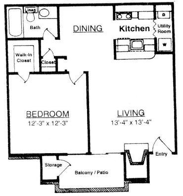 655 sq. ft. T1 floor plan
