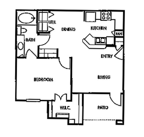 709 sq. ft. A3/60% floor plan