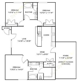 1,245 sq. ft. C1G floor plan