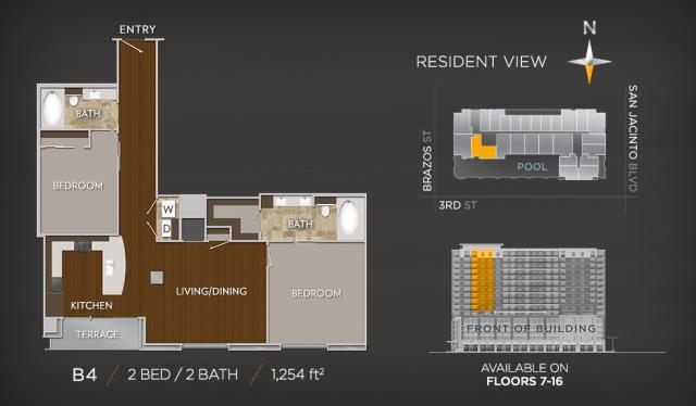 1,254 sq. ft. B4 floor plan