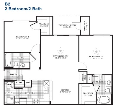 1,098 sq. ft. B2 floor plan