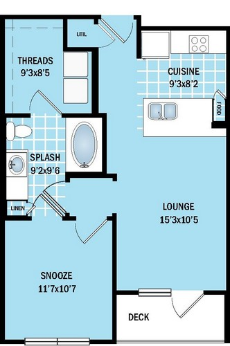 575 sq. ft. to 622 sq. ft. A1 floor plan