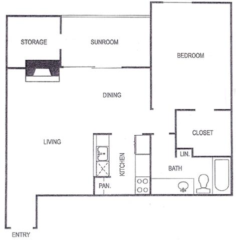 867 sq. ft. D floor plan