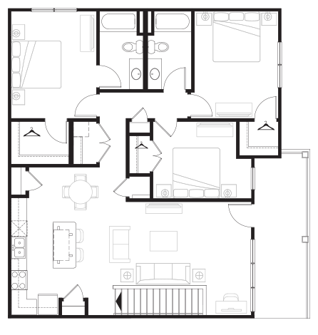 1,399 sq. ft. Grand Overlook Up floor plan