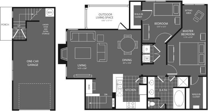 1,200 sq. ft. Pecan floor plan