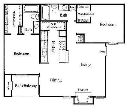 960 sq. ft. RW B-2 floor plan