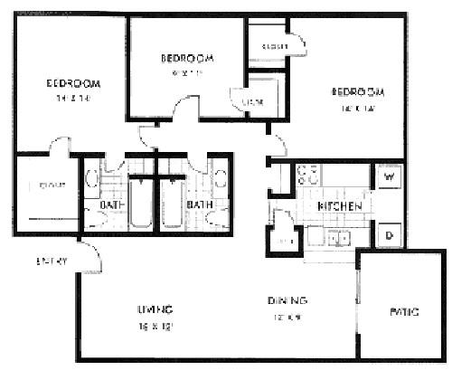 1,287 sq. ft. floor plan