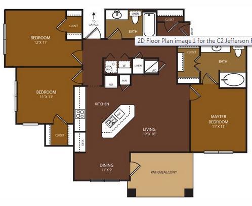 1,309 sq. ft. Jefferson floor plan