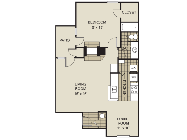 870 sq. ft. A7-B floor plan