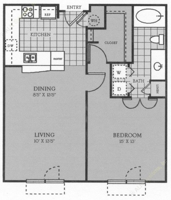 738 sq. ft. to 916 sq. ft. Toulouse floor plan