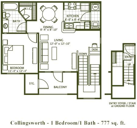777 sq. ft. COLLINGSWORTH floor plan
