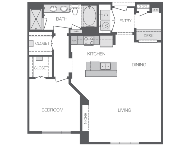 1,020 sq. ft. to 1,205 sq. ft. A7 floor plan
