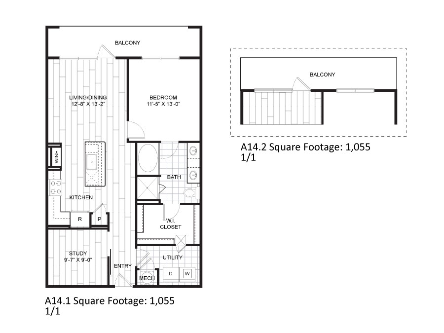 1,055 sq. ft. A14.1 floor plan