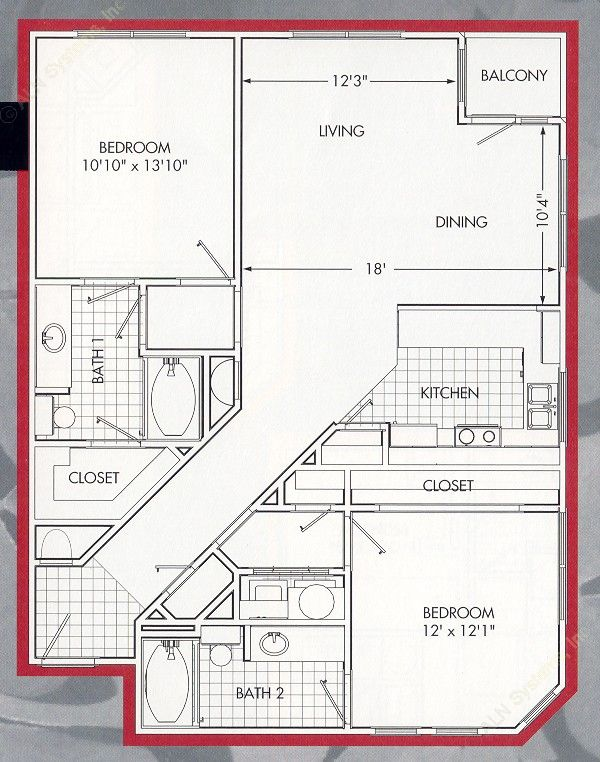 1,157 sq. ft. Lakeside B floor plan
