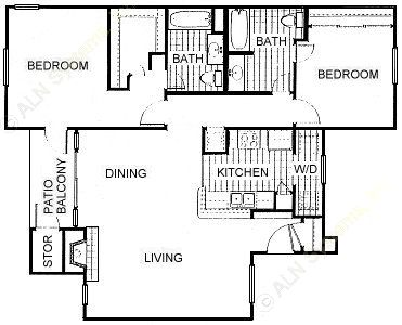 1,135 sq. ft. B2 floor plan