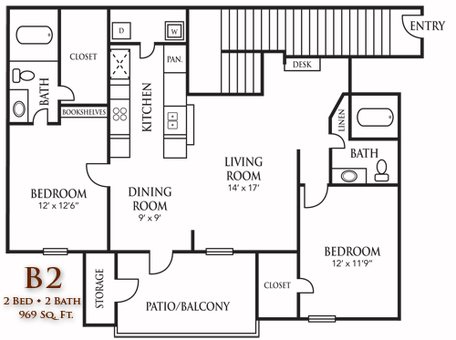 969 sq. ft. B2 floor plan
