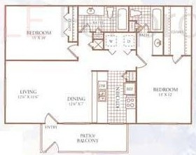 985 sq. ft. H floor plan