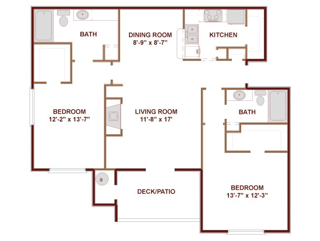 1,092 sq. ft. C2 floor plan