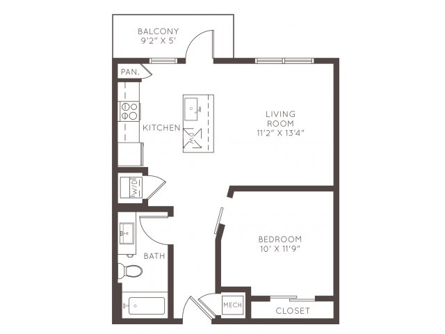 670 sq. ft. A1A floor plan