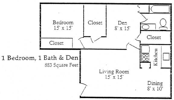 883 sq. ft. E floor plan