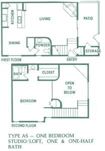 930 sq. ft. AS012 floor plan
