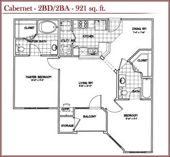 921 sq. ft. CABERNET floor plan