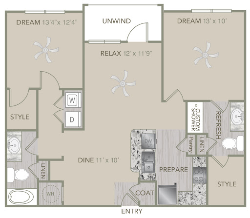 1,097 sq. ft. B1 floor plan