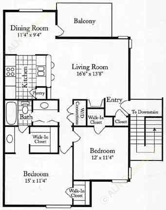 1,089 sq. ft. EUF floor plan