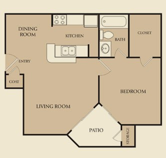 521 sq. ft. A2 floor plan