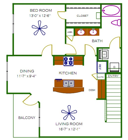 947 sq. ft. Stanley floor plan