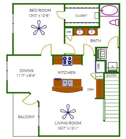 947 sq. ft. Stanley floor plan