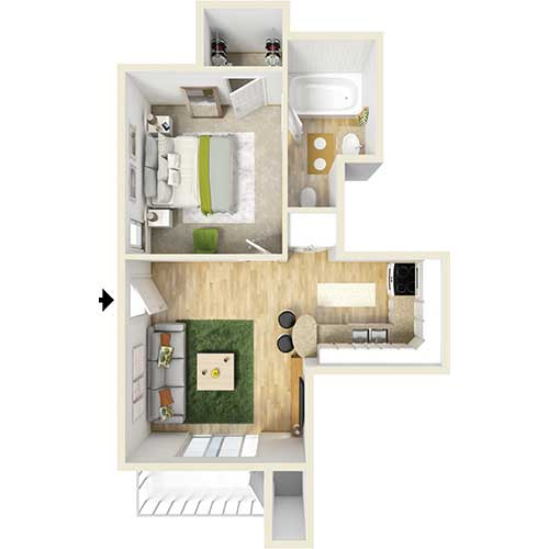 450 sq. ft. A1 floor plan