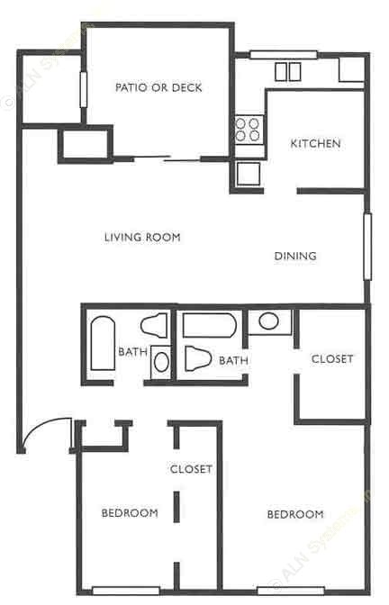 1,046 sq. ft. B2 Fireplace + WD Connects floor plan