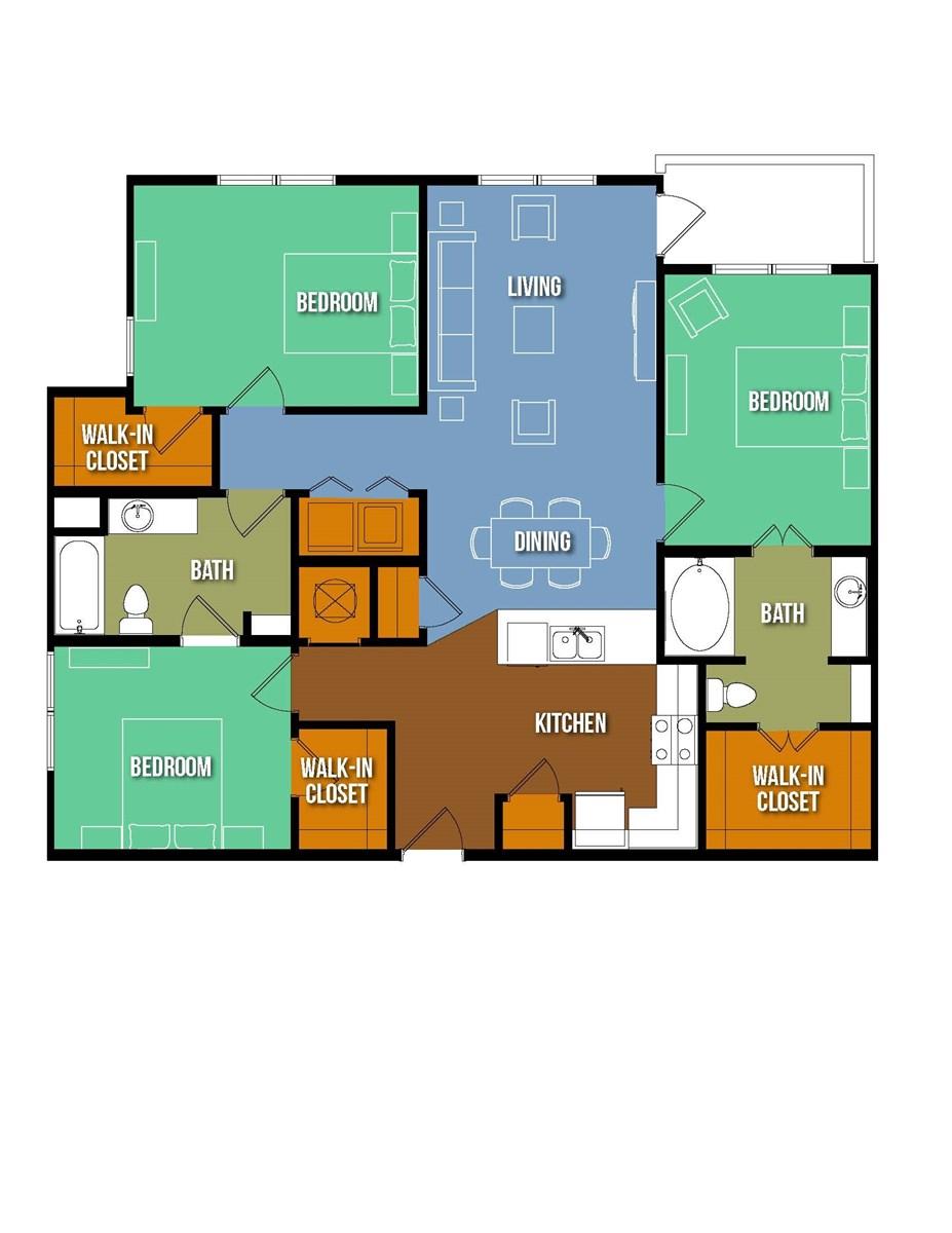 1,352 sq. ft. Pofirio Salinas floor plan