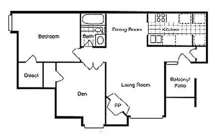 876 sq. ft. Sycamore floor plan