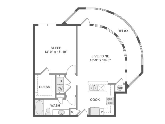 868 sq. ft. to 942 sq. ft. A5B floor plan