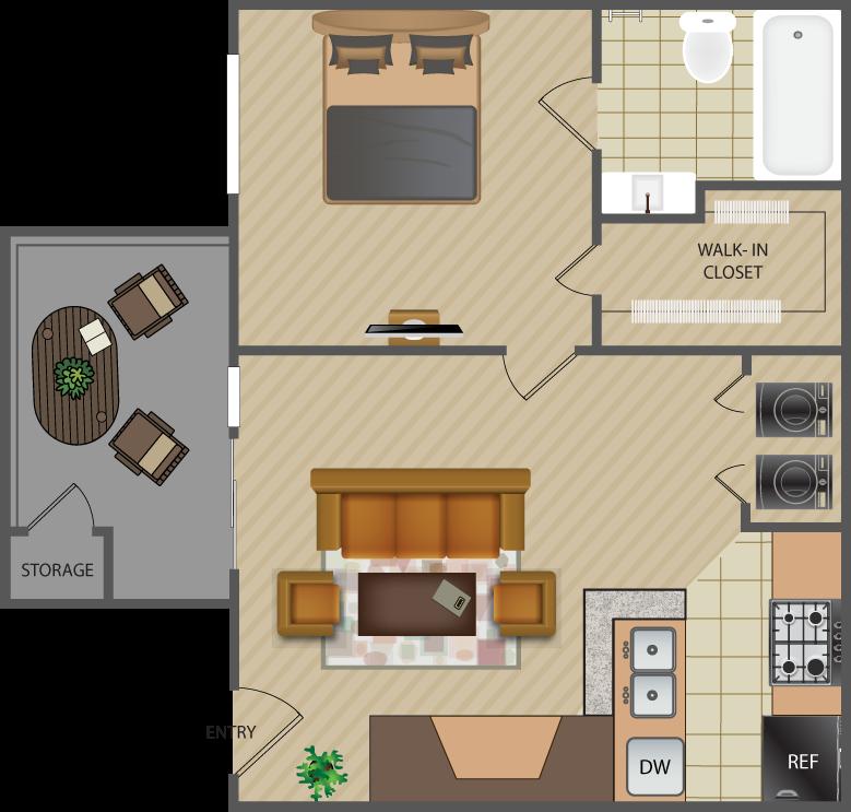 540 sq. ft. Maple-A1 floor plan