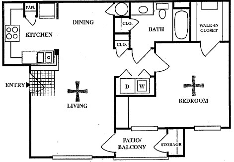 736 sq. ft. A2 floor plan