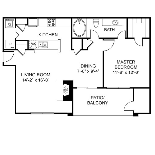 782 sq. ft. A3 floor plan