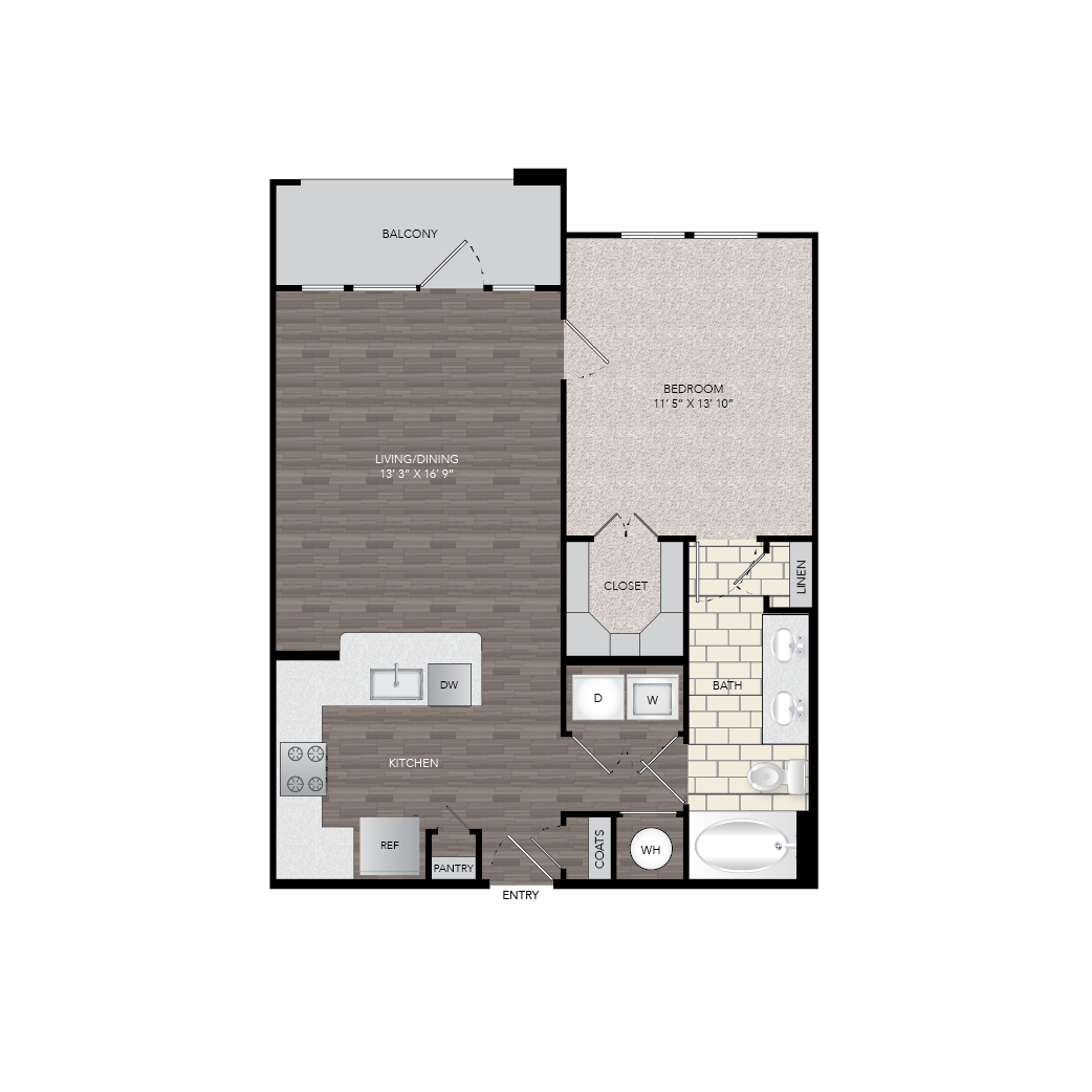 772 sq. ft. A7 floor plan