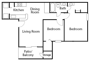 805 sq. ft. Poplar floor plan